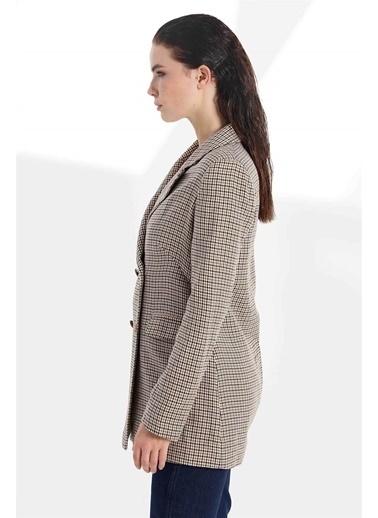 Vivencia Kruvaze Kapama Ekose Kadın Ceket  Taba